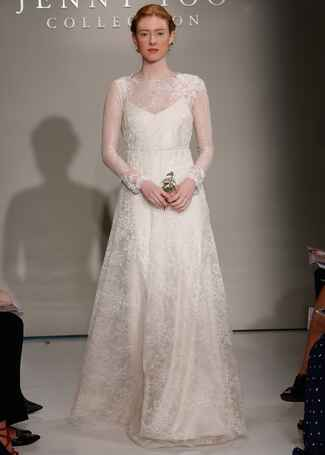 Jenny Yoo Fall 2016 wedding dress with sheer lace sleeves and high neck with lace detail on bodice and flowing skirt