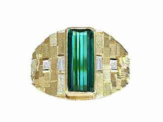 Jo Hayes Ward one-of-a-kind tapered deco ring gold and green tourmaline