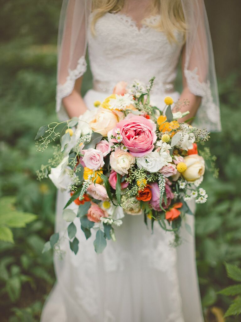 Cascading Wedding Bouquet Idea With Veronica And Roses