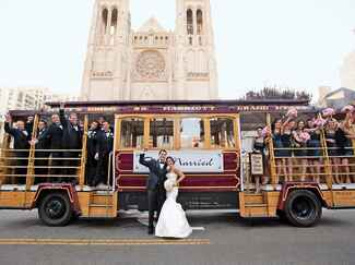 just married wedding trolley