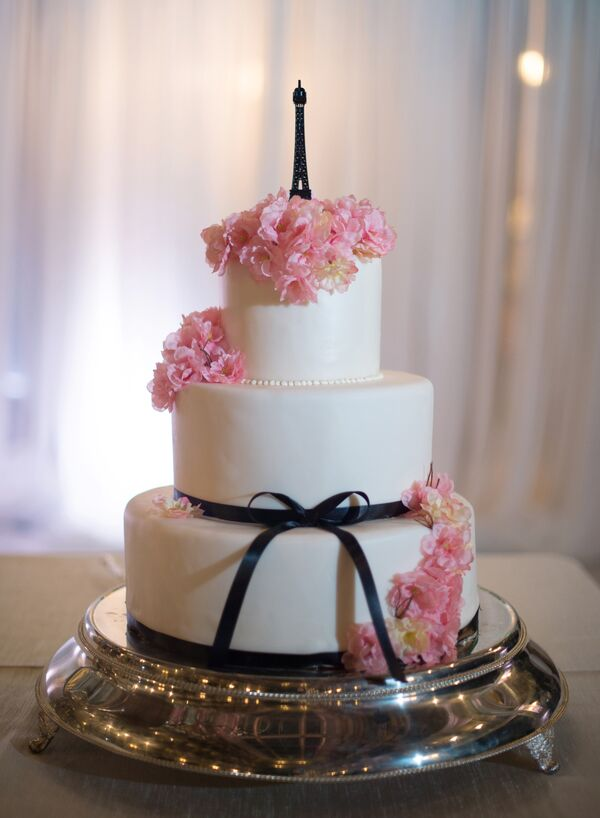 Wedding Cake with Eiffel Tower Cake Topper and Cherry Blossoms