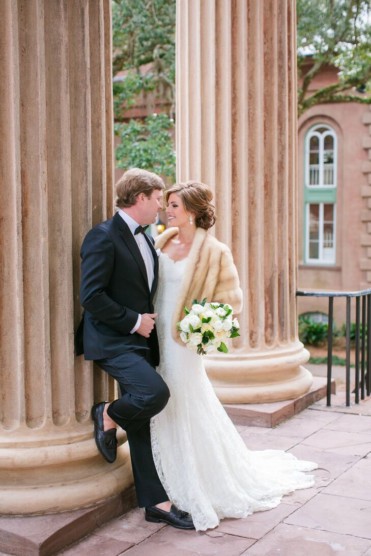 a glamorous winter wedding at boone hall plantation in