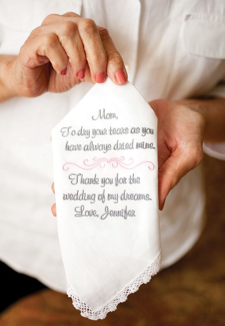 Embroidered Handkerchief Mother Of The Bride Wedding Gift