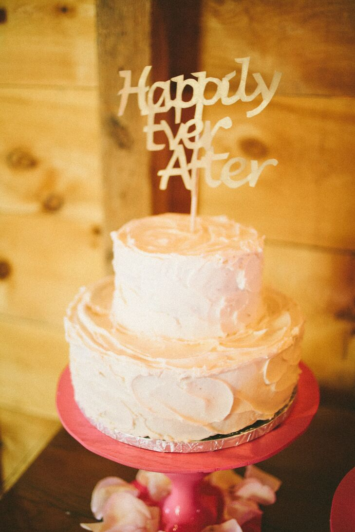 Two Tier White Cake and Happily Ever After Topper