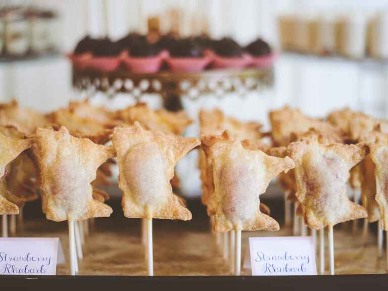 mini pies on a stick wedding dessert