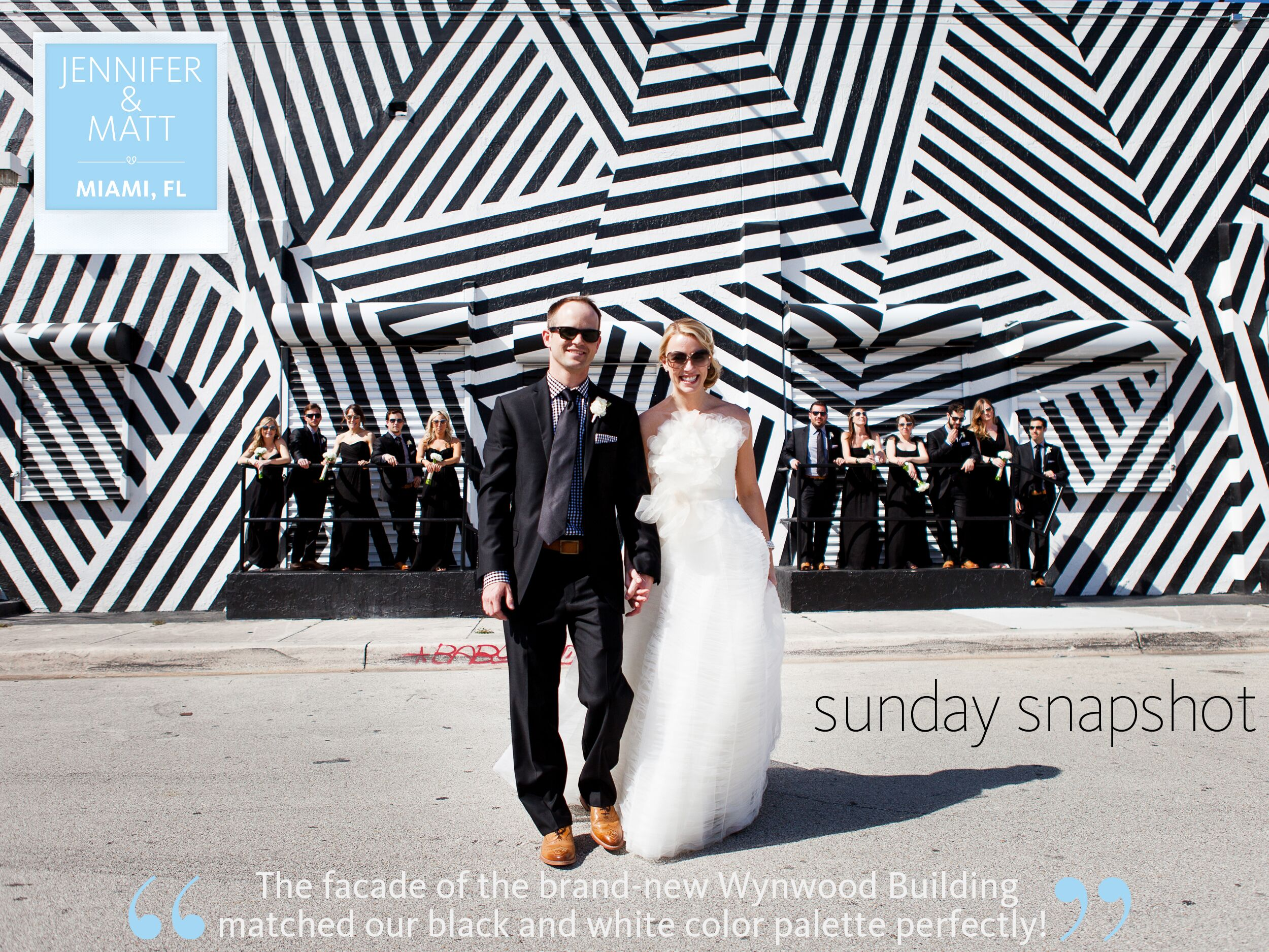 Miami wedding party photo in front of the Wynwood Building.