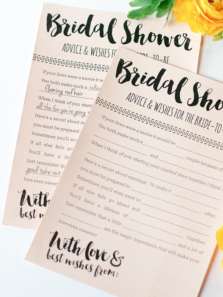 10 printable bridal shower games to diy for Bridal shower advice cards template
