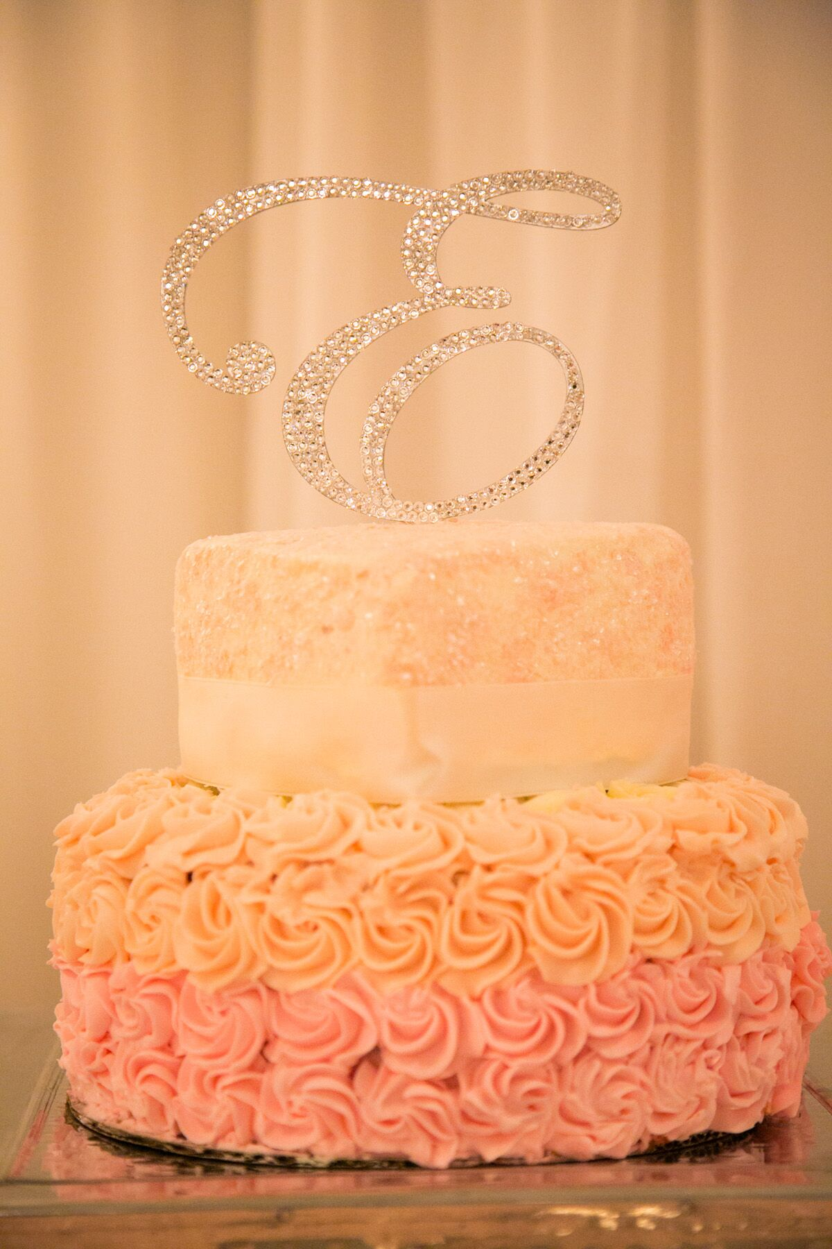 Pink Peach And Ivory Wedding Cake