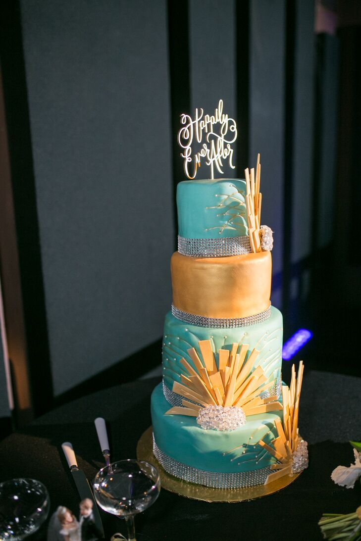 Mint Green And Gold Tiered Wedding Cake