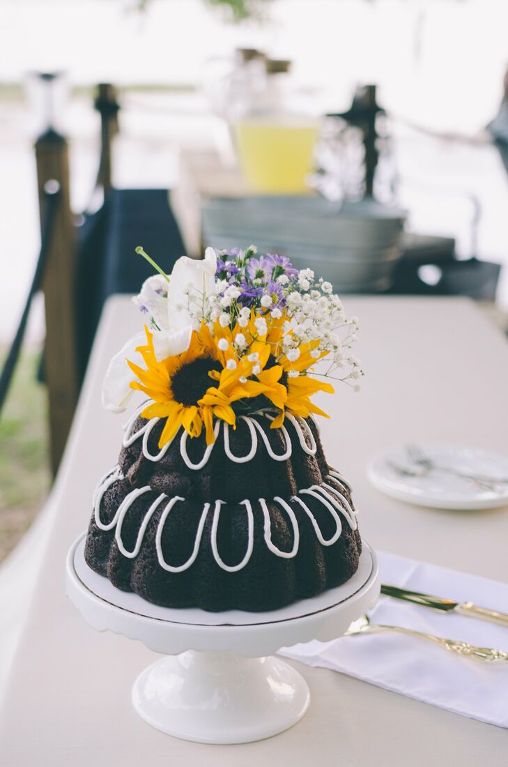 Tiered Bundt Wedding Cake With Sunflower