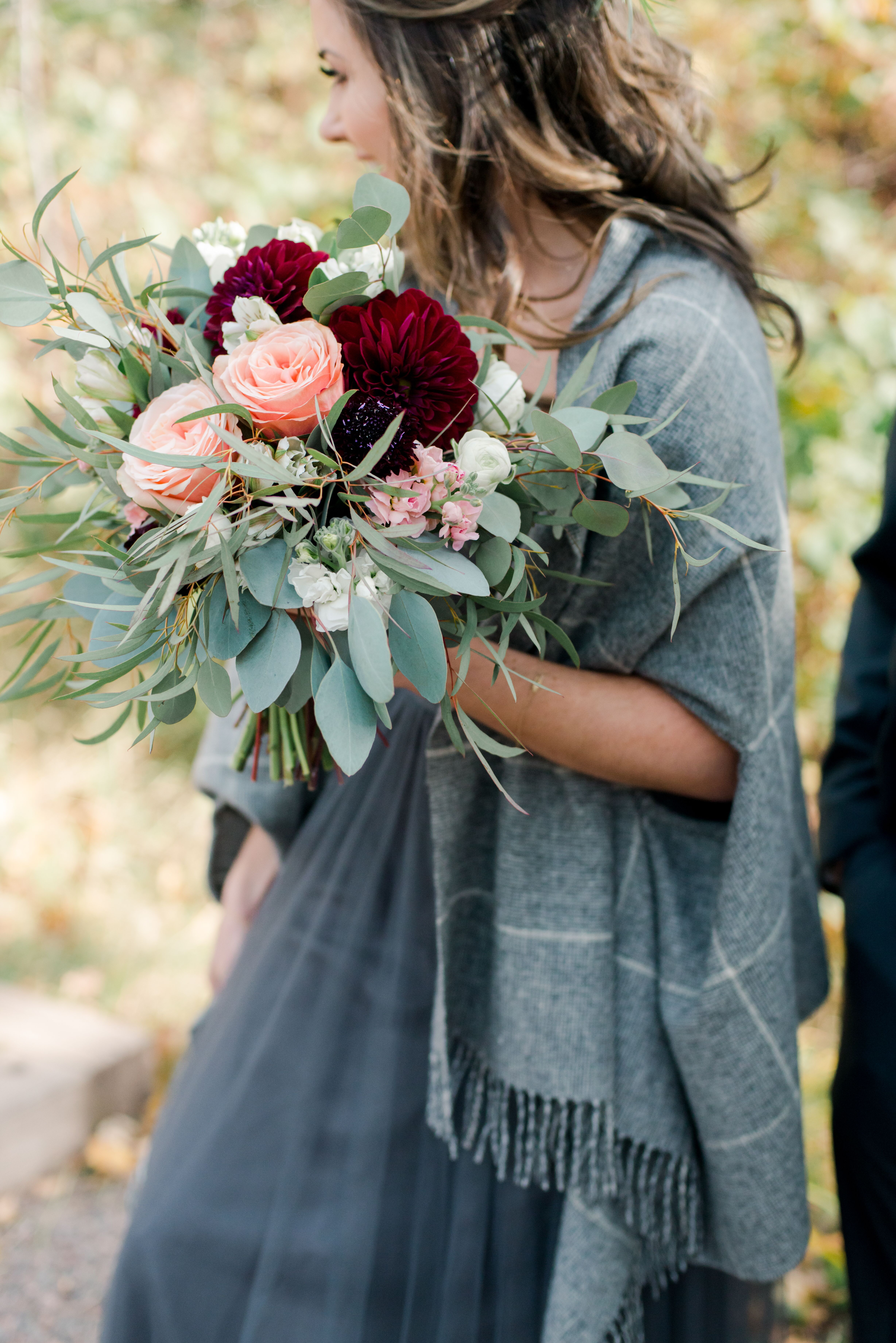 Oversized Bouquet Of Eucalyptus Burgundy Dahlias And Pink Peonies