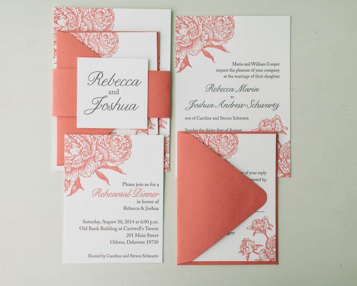 ivory and peach wedding invitations