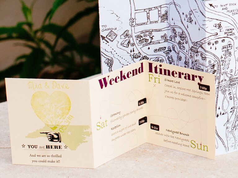 Weekend Itinerary For Wedding Welcome Bag