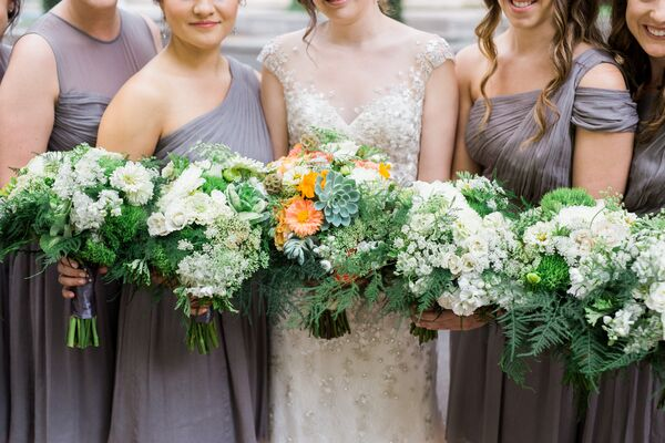 Natural Fern, Green Trick and White Floral Bouquets