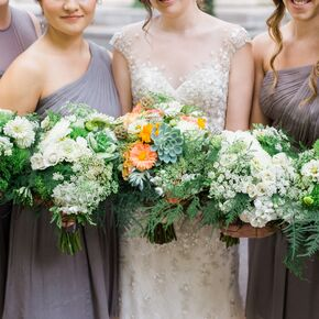 Natural Fern Green Trick And White Floral Bouquets