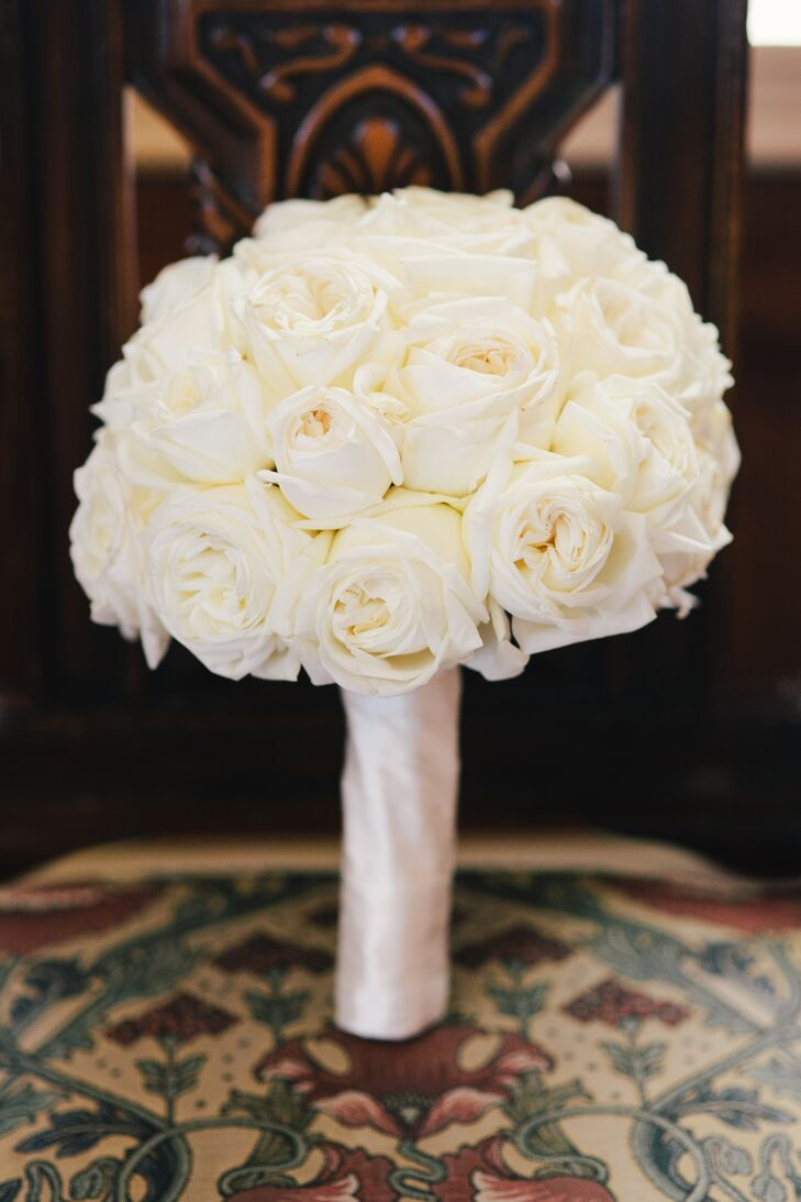 A Luxe White Rose Bouquet At Kohl Mansion