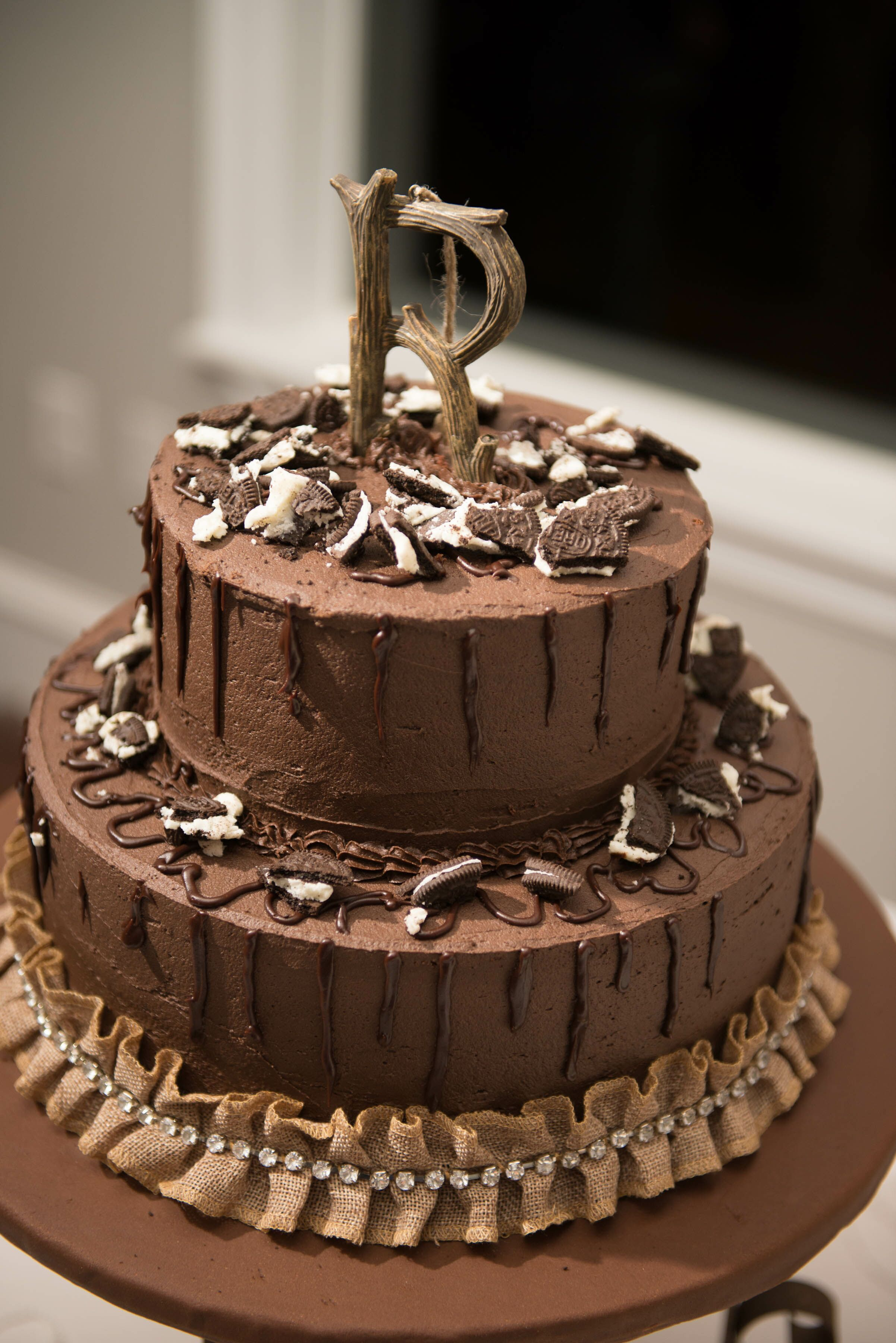 Rustic Chocolate Wedding Cake
