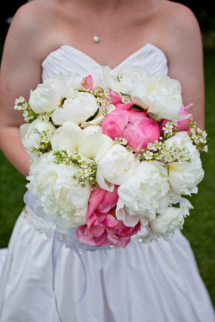 White and pink peony bridal bouquet with babys breath izmirmasajfo