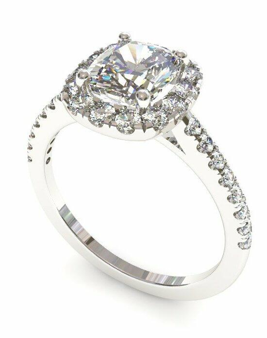 Enchanted Diamonds Petite Halo Scalloped Cushion HL7-4W-C Engagement Ring photo