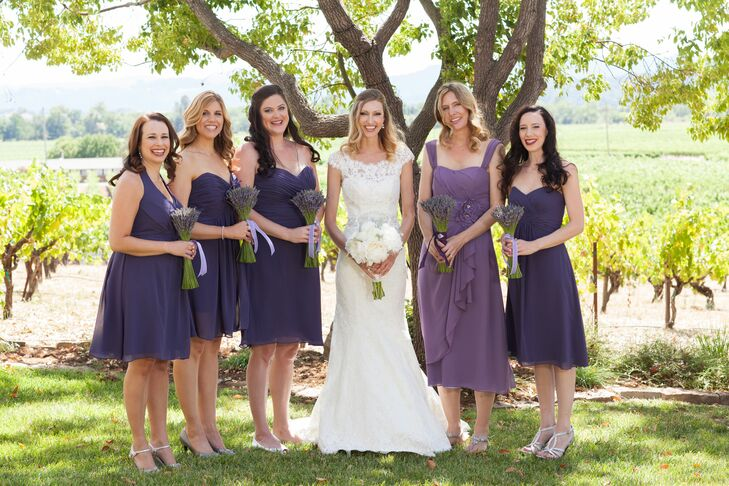 Assorted Purple Bridesmaid Dresses