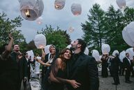 Natasha Koifman (president of NKPR) and Anthony Mantella (an international race car driver) pulled off a moody black-tie bash with rustic touches for
