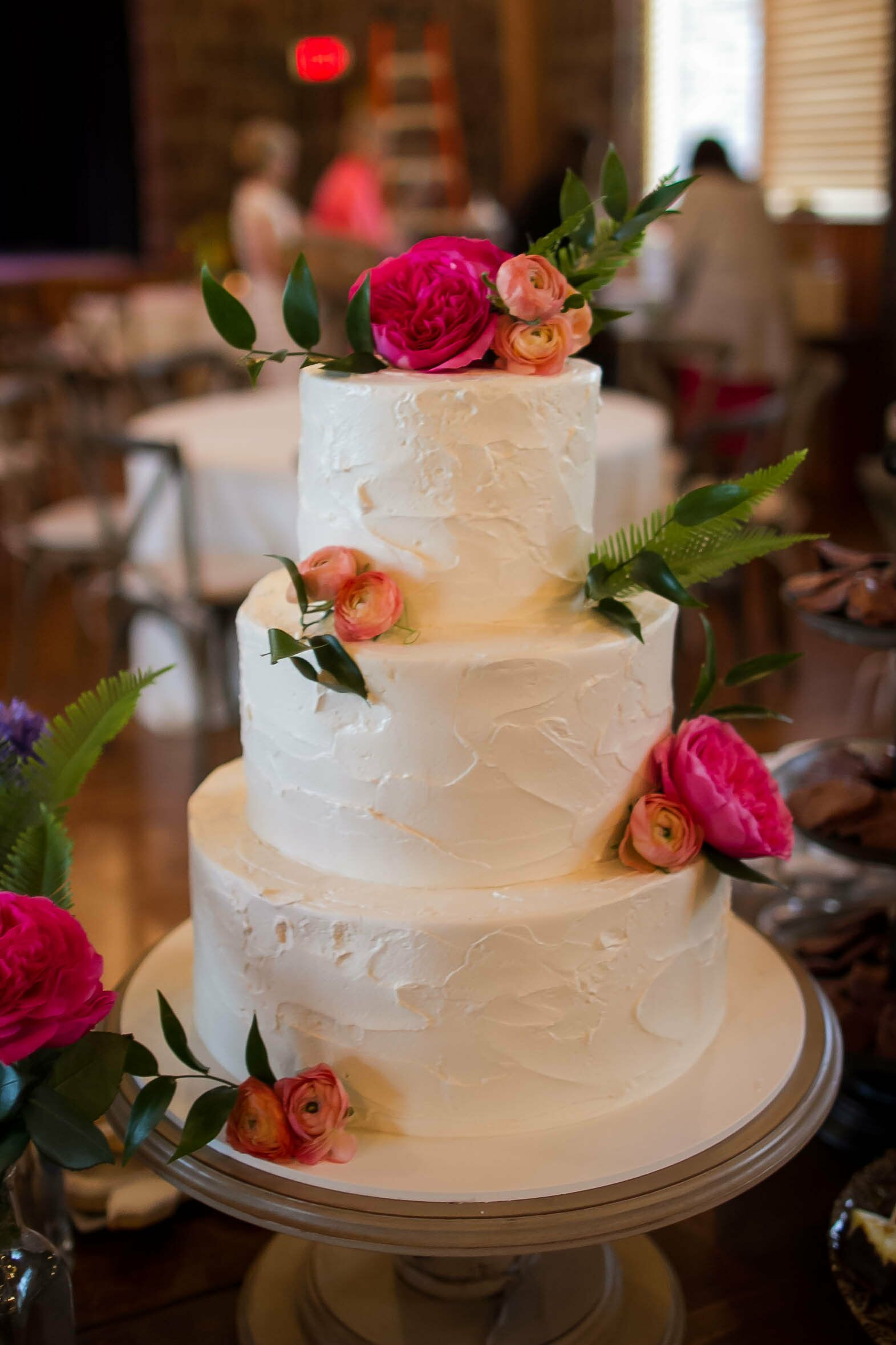 Three Tier Pink Champagne Wedding Cake
