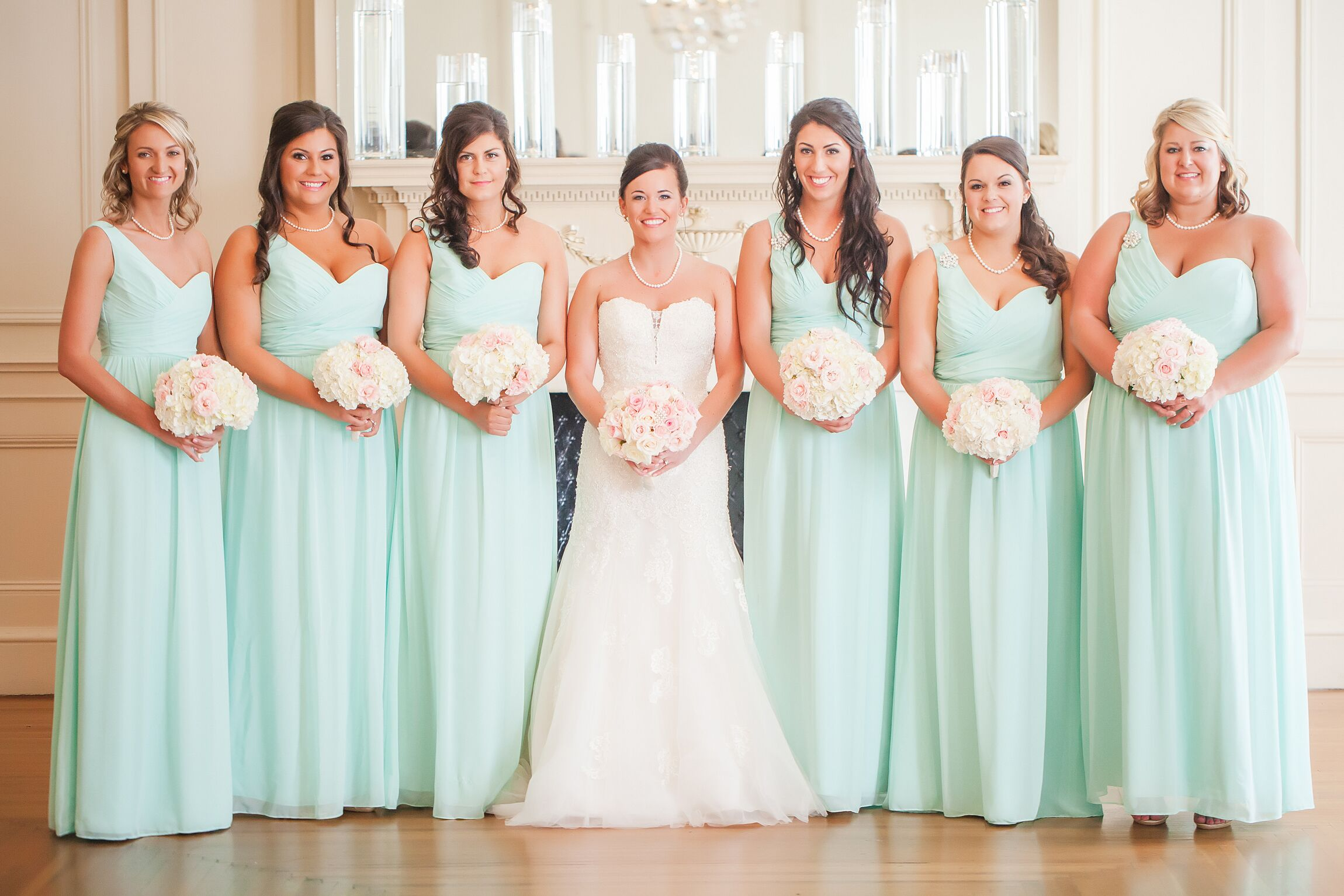 Alfred Angelo One-Shoulder Mint Bridesmaid Dresses