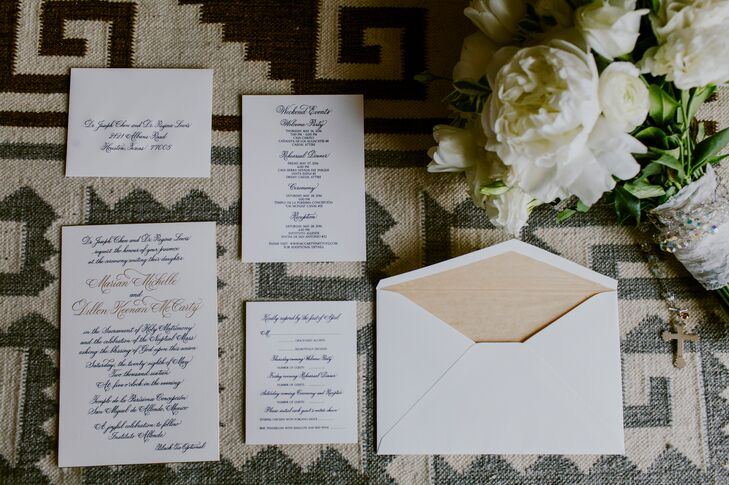 To stay true to the historic locale while balancing the decor's vibrant palette, Marian and Dillon took the classic route when it came to their invitation suite. Gold and navy calligraphy adorned sheets of ivory card stock, informing guests of all the events over the couple's three-day wedding extravaganza.