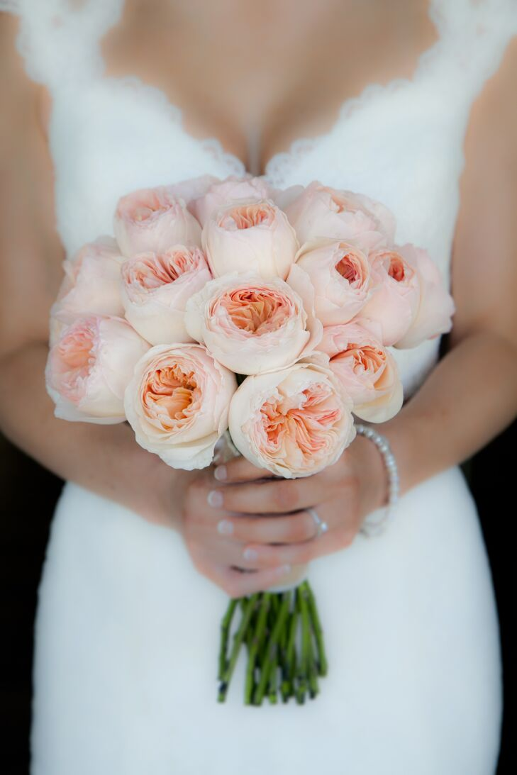 peach garden rose wedding bouquet - Peach Garden Rose