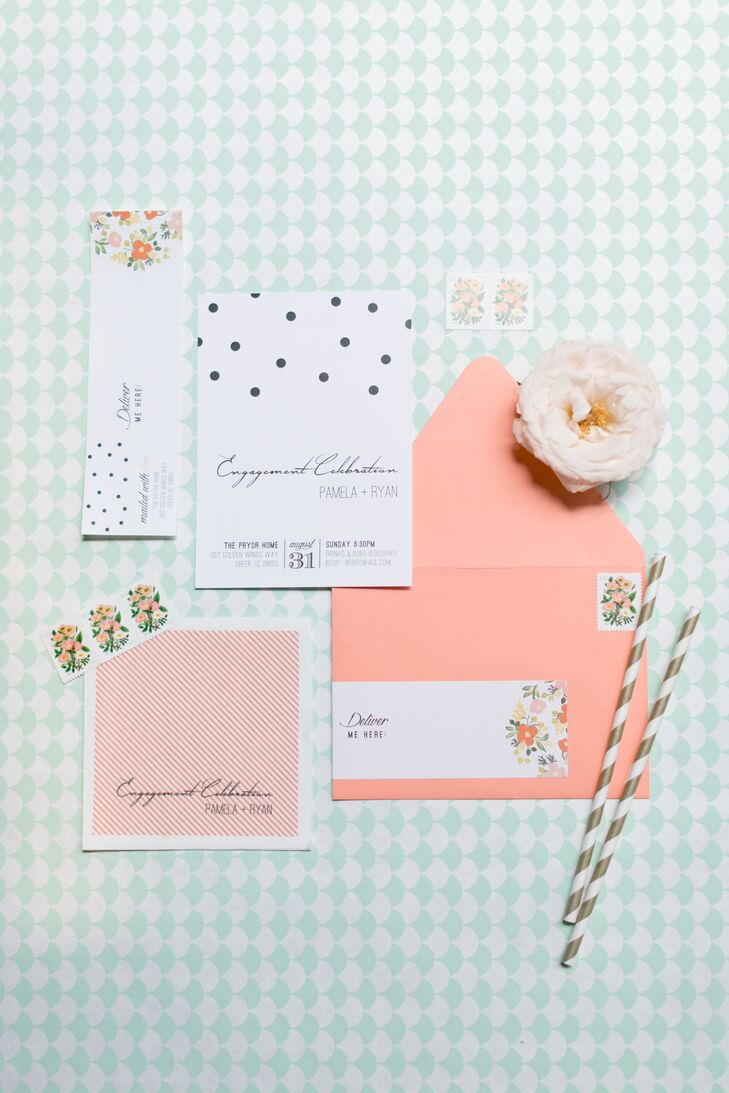 Coral and Mint Wedding Invitations