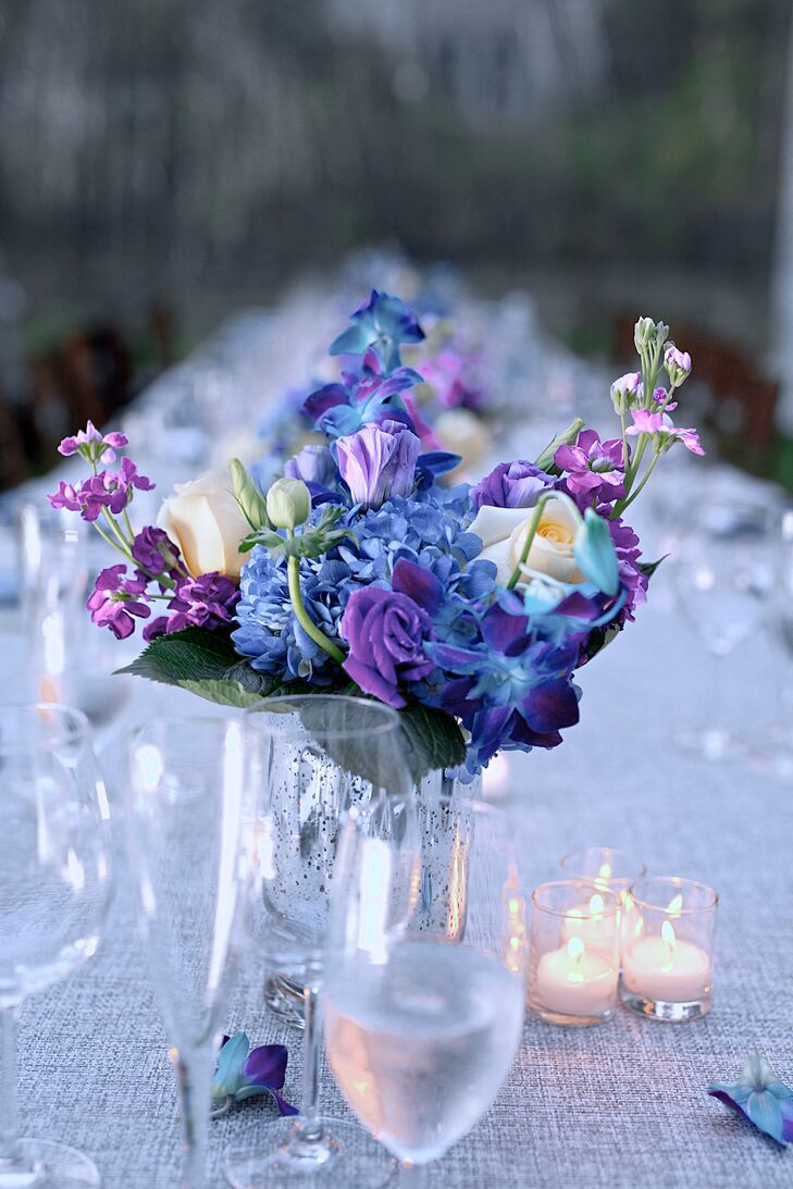 Blue and purple flower centerpieces izmirmasajfo
