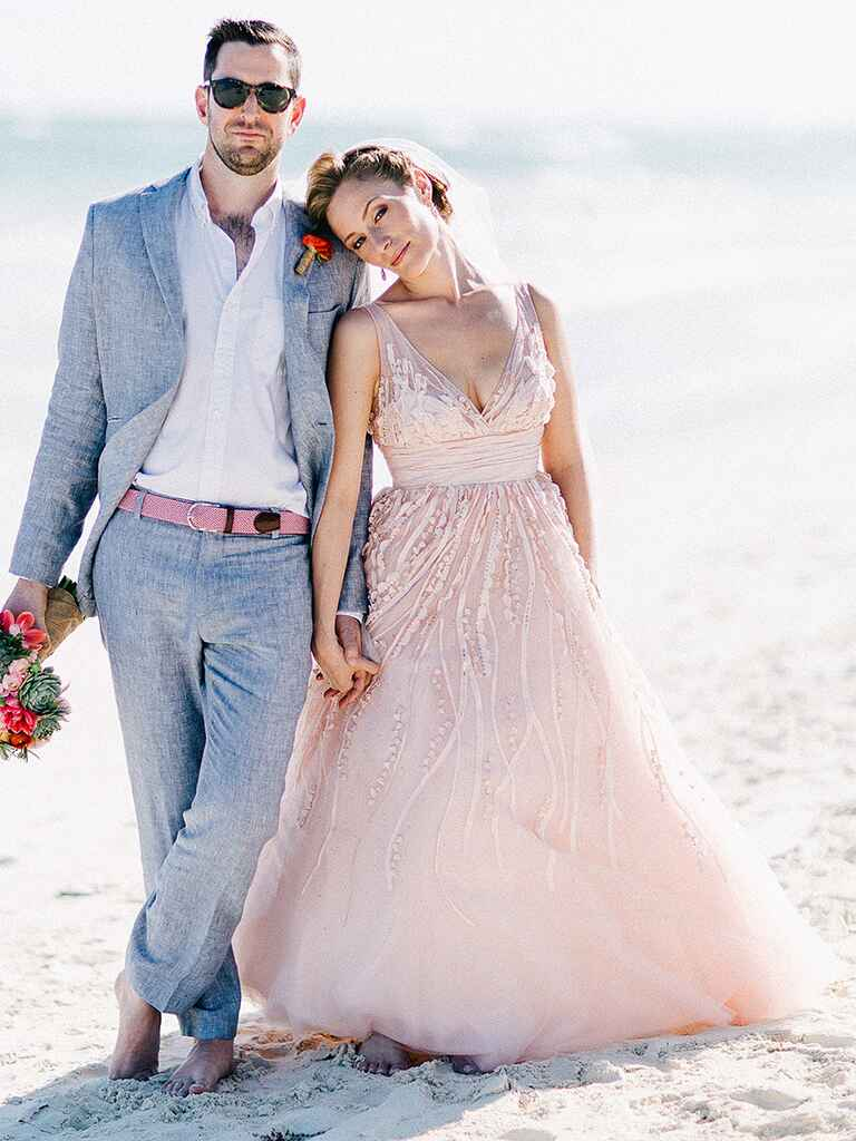 Light pink and white wedding dresses
