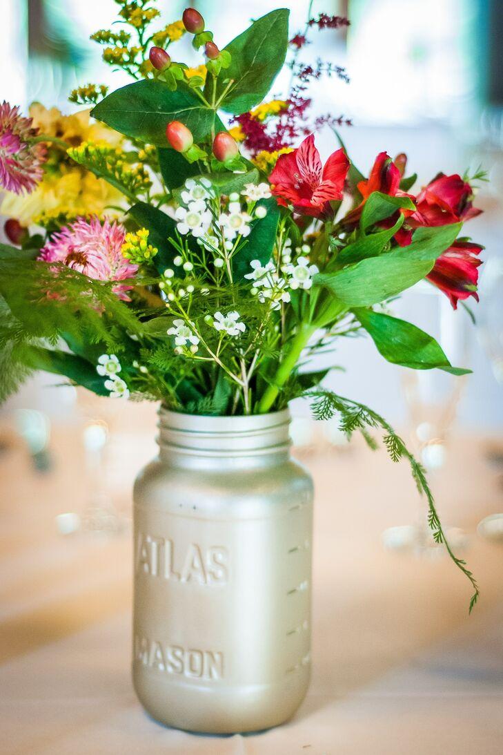 Diy Silver Mason Jar Wildflower Centerpieces