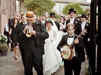 Live marching band wedding performance