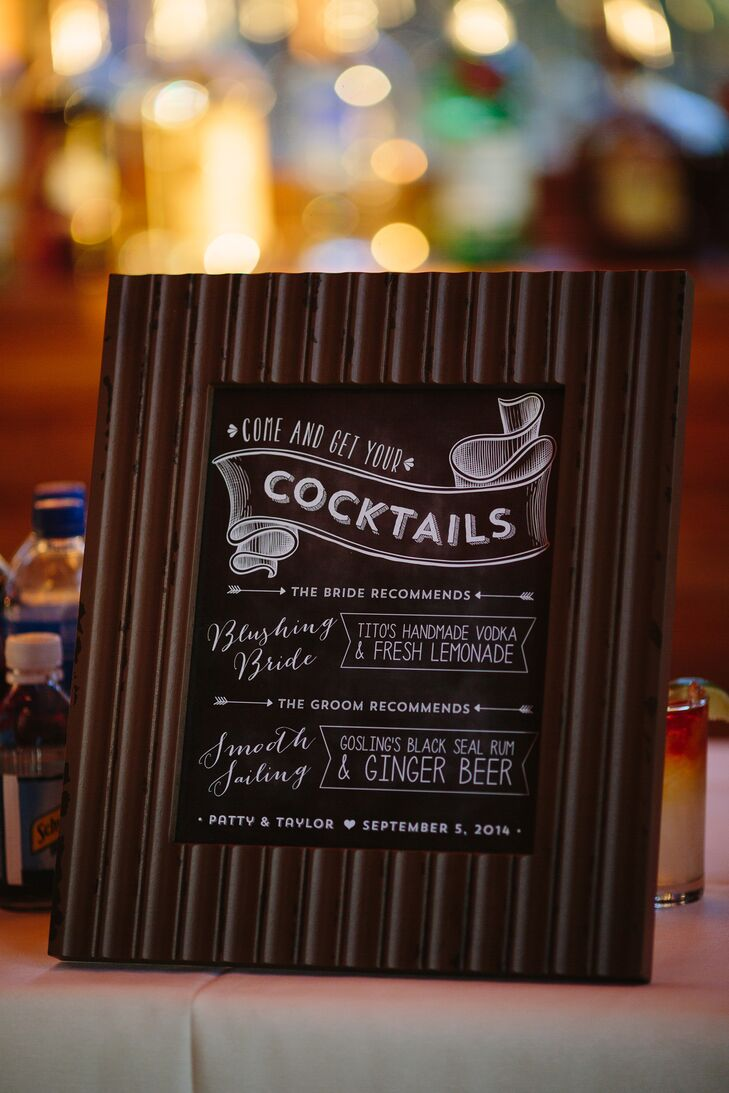 During cocktail hour, Patty and Taylor served wine and their two signature cocktails: Blushing Bride with Tito's handmade vodka and fresh lemonade for her and Smooth Sailing with Gosling's black seal rum and ginger beer for him. The drink menu was displayed on a little chalkboard framed in textured wood.