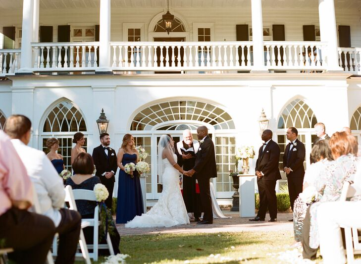 Shalini and Joseph exchanged vows in on  Lowndes Grove Plantation's lawn with the antebellum style home serving as their backdrop.