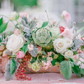 Artichoke And Garden Rose Centerpieces