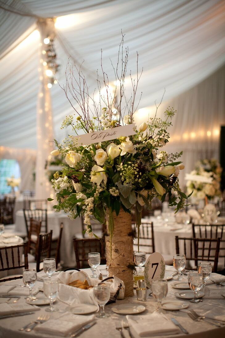 Birch bark vase centerpieces