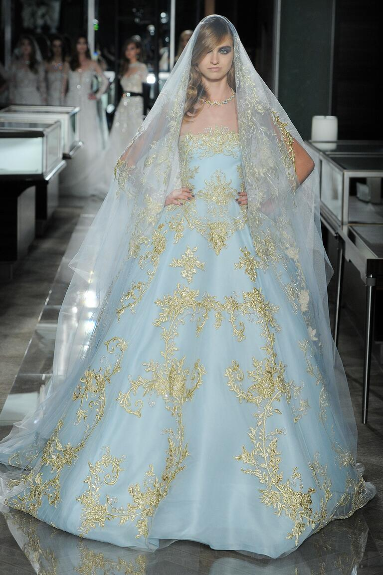 Reem Acra Spring 2018 blue ball gown with gold embroidery
