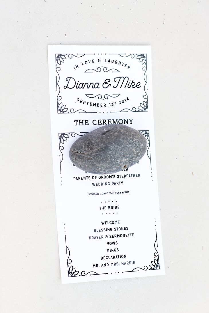 """Looking back, our favorite thing that we did, was the stones,"" says Mike. ""During the ceremony, on each chair, the wedding program was held in place by a black river rock about the size of your palm. After the ceremony, during the cocktail hour, we provided white sharpies and guests were able to write their best wishes, marriage advice or just an inside joke."" After the wedding, the couple kept the rocks in glass, reminding them of their loving friends and family."