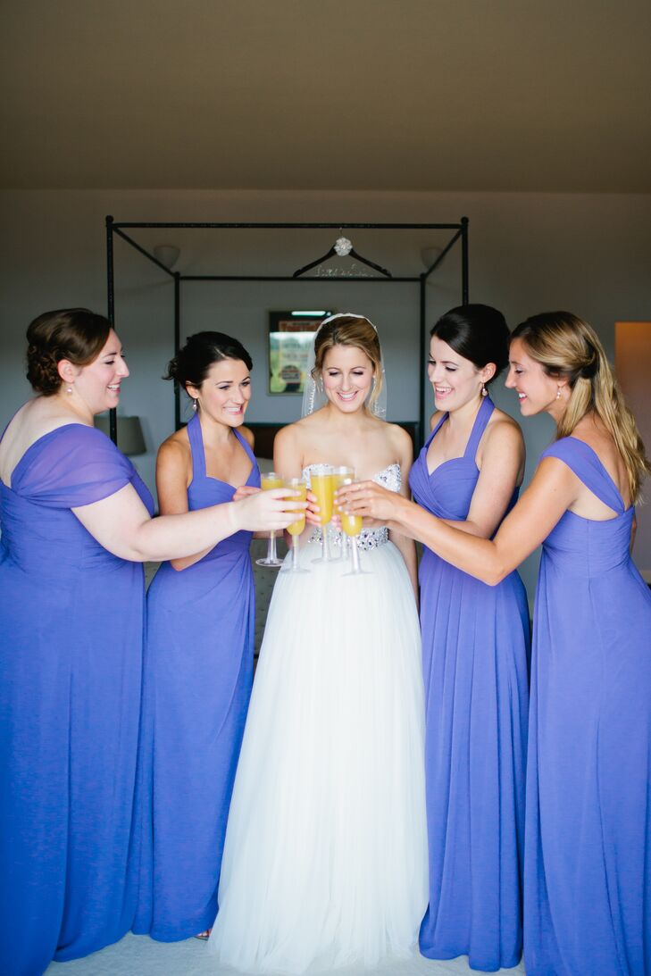 Bridal Party Toasting to Wedding Day