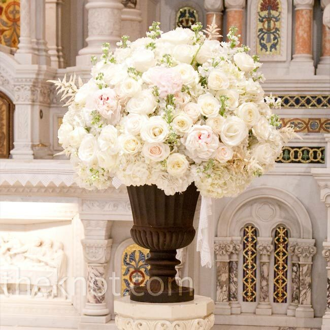 Wedding Altar Flowers Photo: White Floral Altar Decor