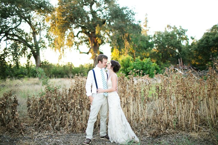 "This couple from the desert of Palm Springs, California, had their ""destination wedding"" up north at Gale Vineyards in Durham, California, for a mini-"