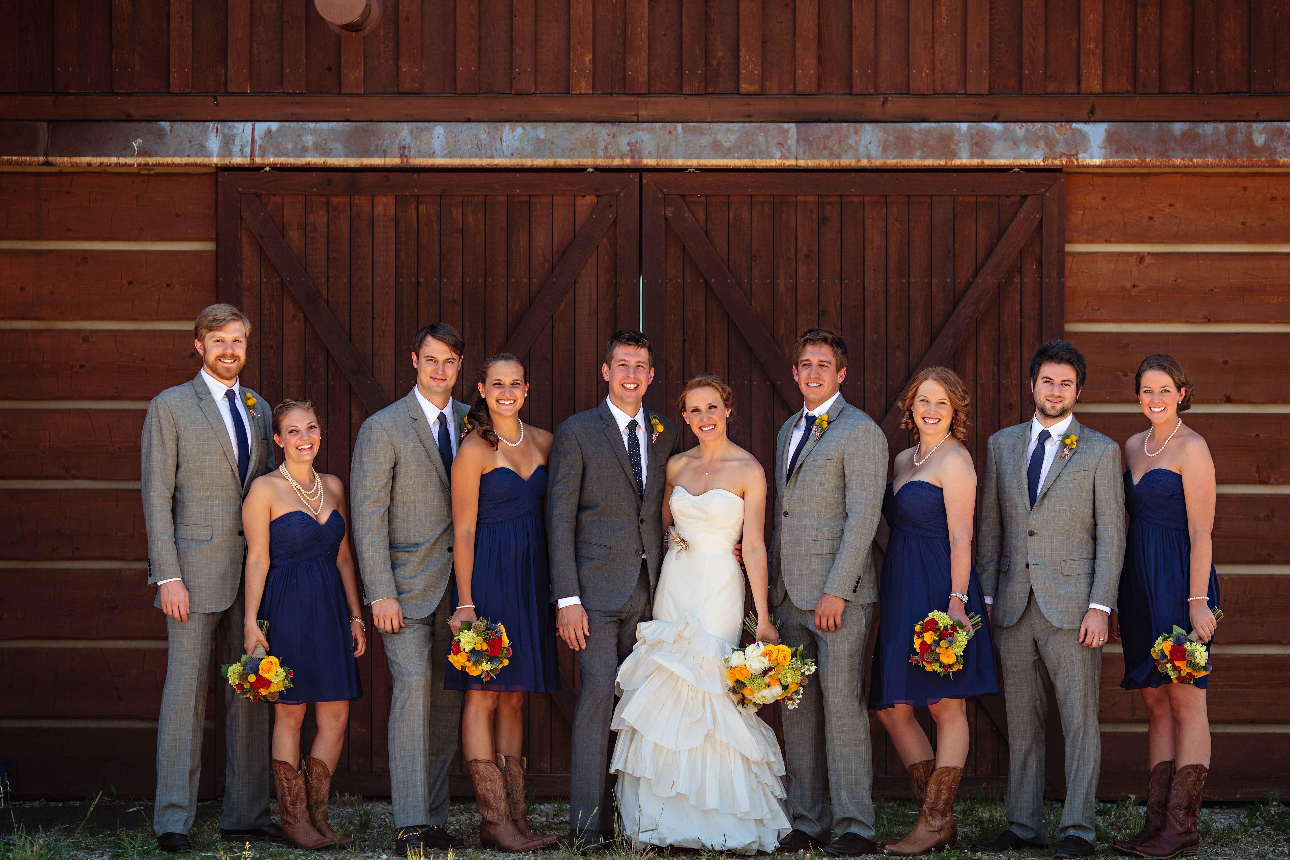 Gray and Navy Groomsmen Suits