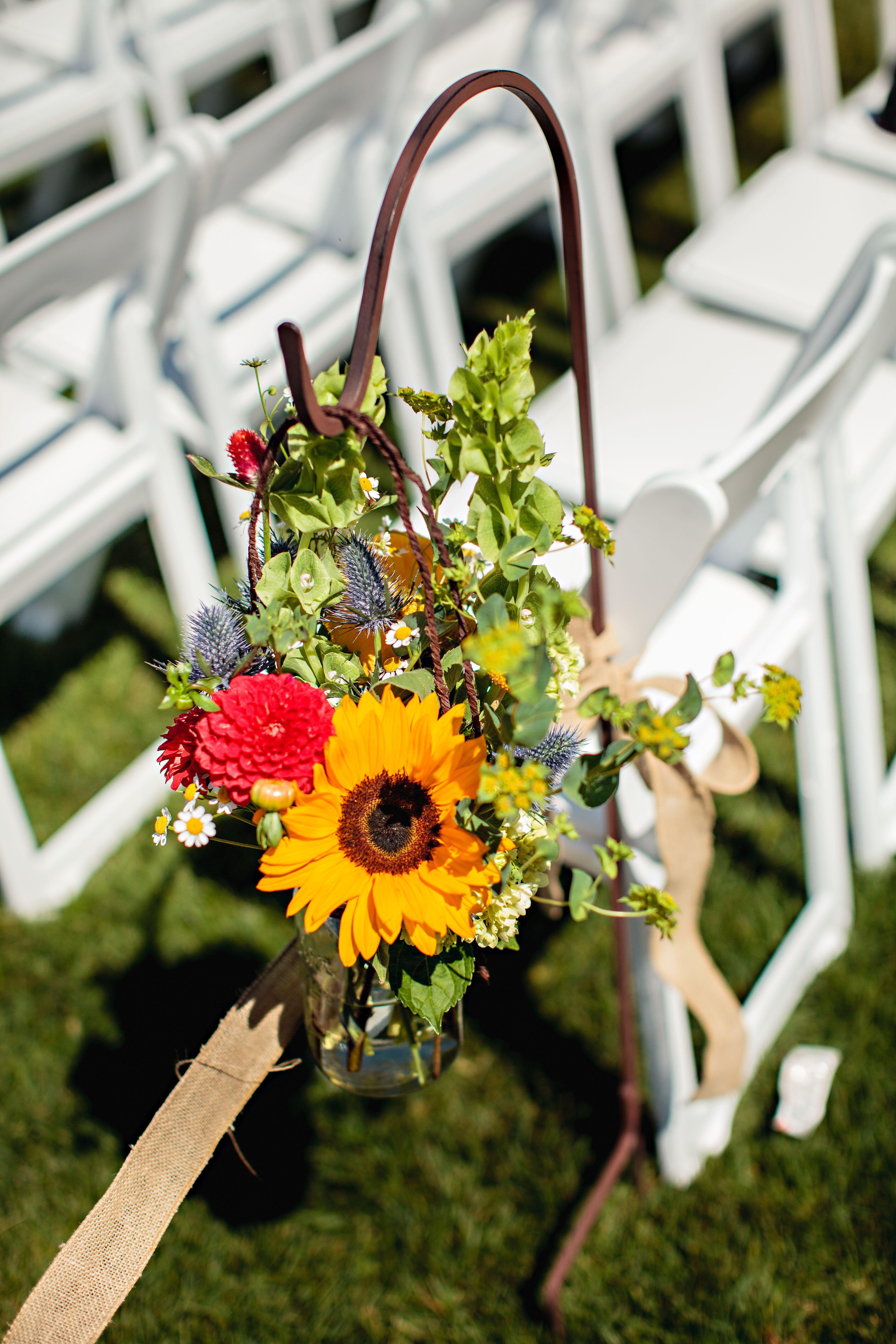 Sunflower Zinnia Thistle Aisle Decor