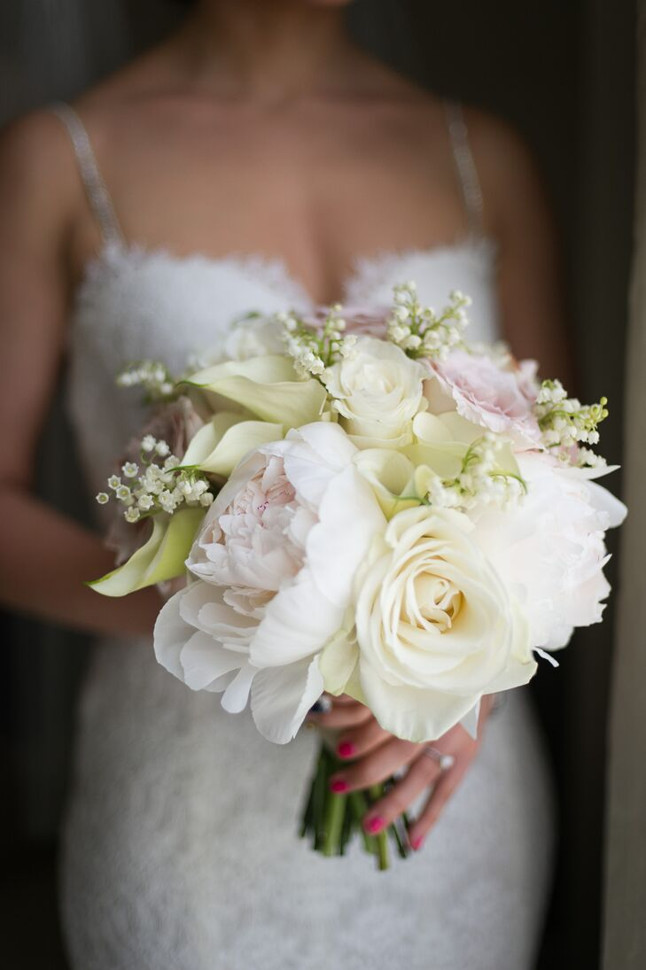 simple bouquet with peonies  roses and calla lilies