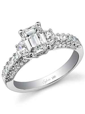 Sylvie Collection emerald cut engagement ring