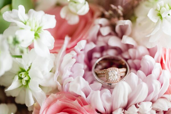 Rose Gold Princess-Cut Halo Engagement Ring