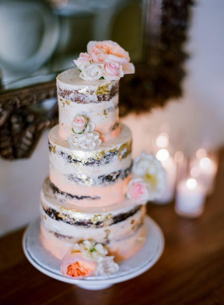 Hand-Painted Blush and Gold Naked Cake
