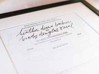 Framed marriage license